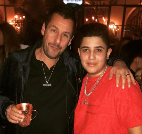 Jonathan Aranbayev with Adam Sandler. in the party of the movie Uncut Gems