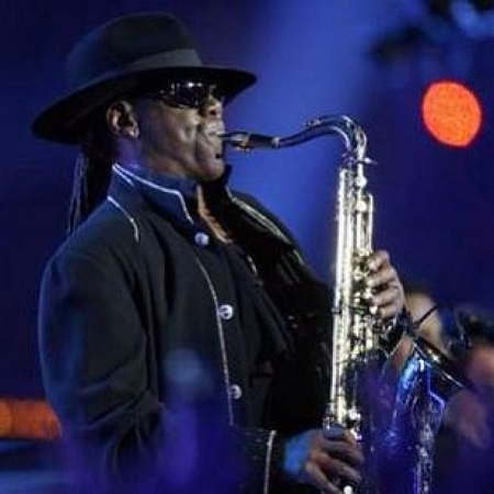 Clarence Clemons performing on the stage
