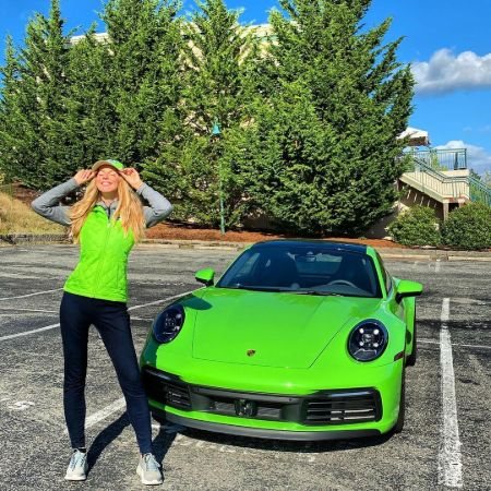 Lucia Oskerova in front of her brand new car