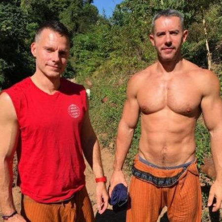 Benjamin Maisani on a hiking trail with his friend