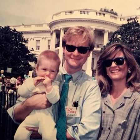 Kathy Gerrity with her husband and son in front of the White House